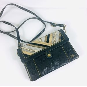 The Sak Leather and Metallic Crossbody Handbag